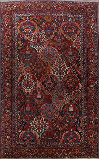 Antique Pre-1900 Floral Vegetable Dye Bakhtiari Persian Area Rug 12x18