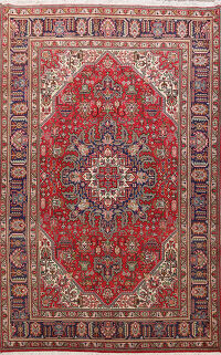 Geometric Tabriz Persian Red Area Rug 6x10