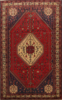 Tribal Geometric Abadeh Persian Red Area Rug 7x10