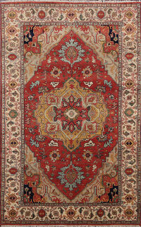 Vegetable Dye Geometric Heriz Serapi Oriental Area Rug 5x8