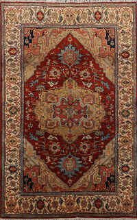 Vegetable Dye Geometric Heriz Serapi Oriental Area Rug 4x6