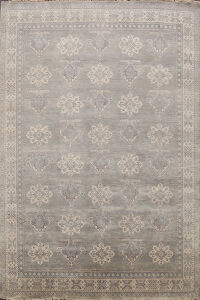 Vegetable Dye Muted Geometric Khotan Oriental Area Rug 8x10
