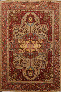 Vegetable Dye Geometric Heriz Serapi Oriental Area Rug 8x10