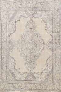 Vintage Muted Floral Tabriz Persian Area Rug 9x12