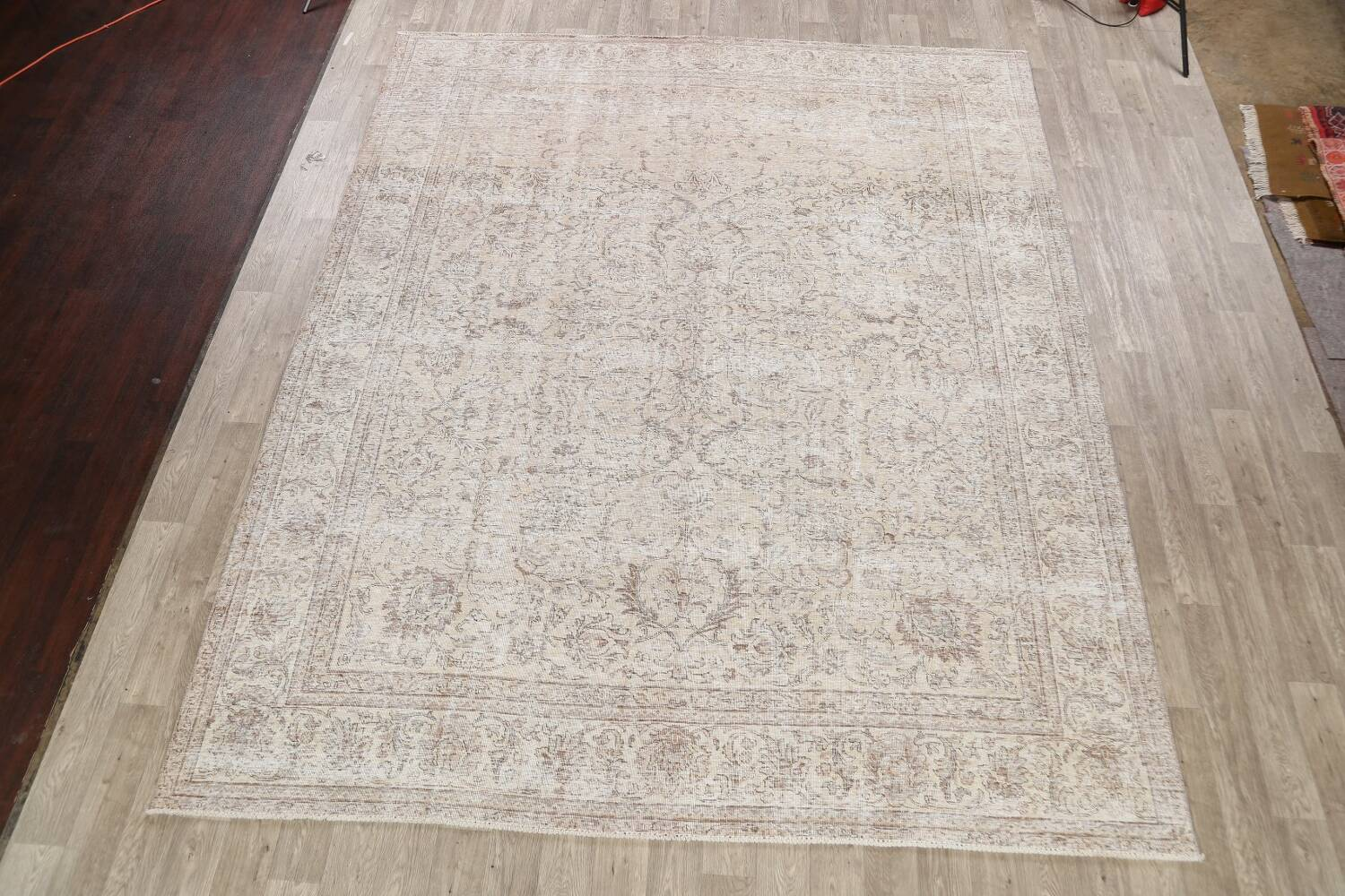 Antique Muted Floral Tabriz Persian Area Rug 9x12 image 2