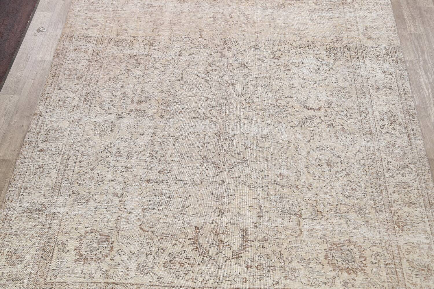 Antique Muted Floral Tabriz Persian Area Rug 9x12 image 3