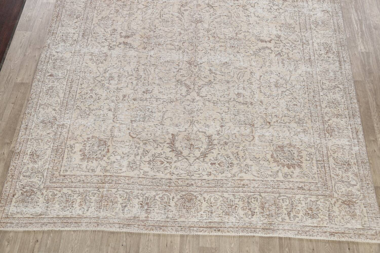 Antique Muted Floral Tabriz Persian Area Rug 9x12 image 8
