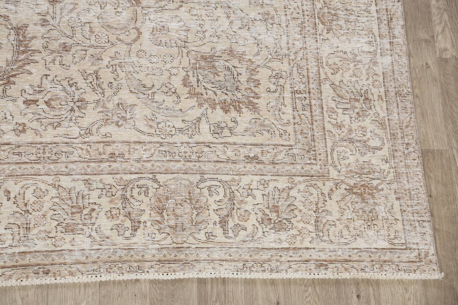 Antique Muted Floral Tabriz Persian Area Rug 9x12 image 5