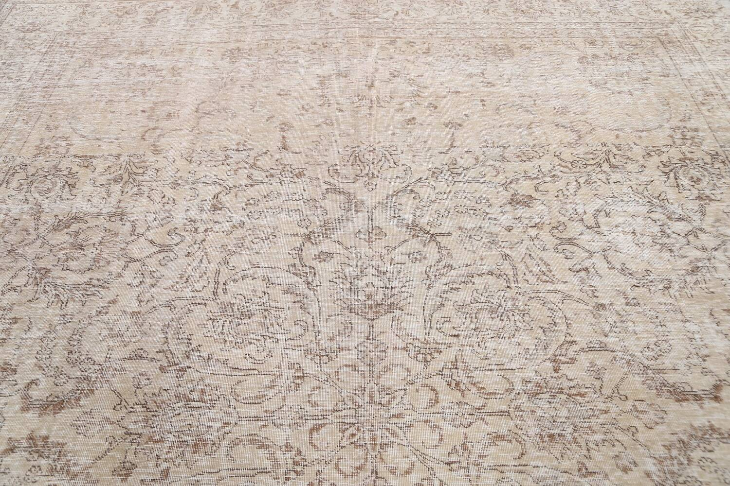 Antique Muted Floral Tabriz Persian Area Rug 9x12 image 14