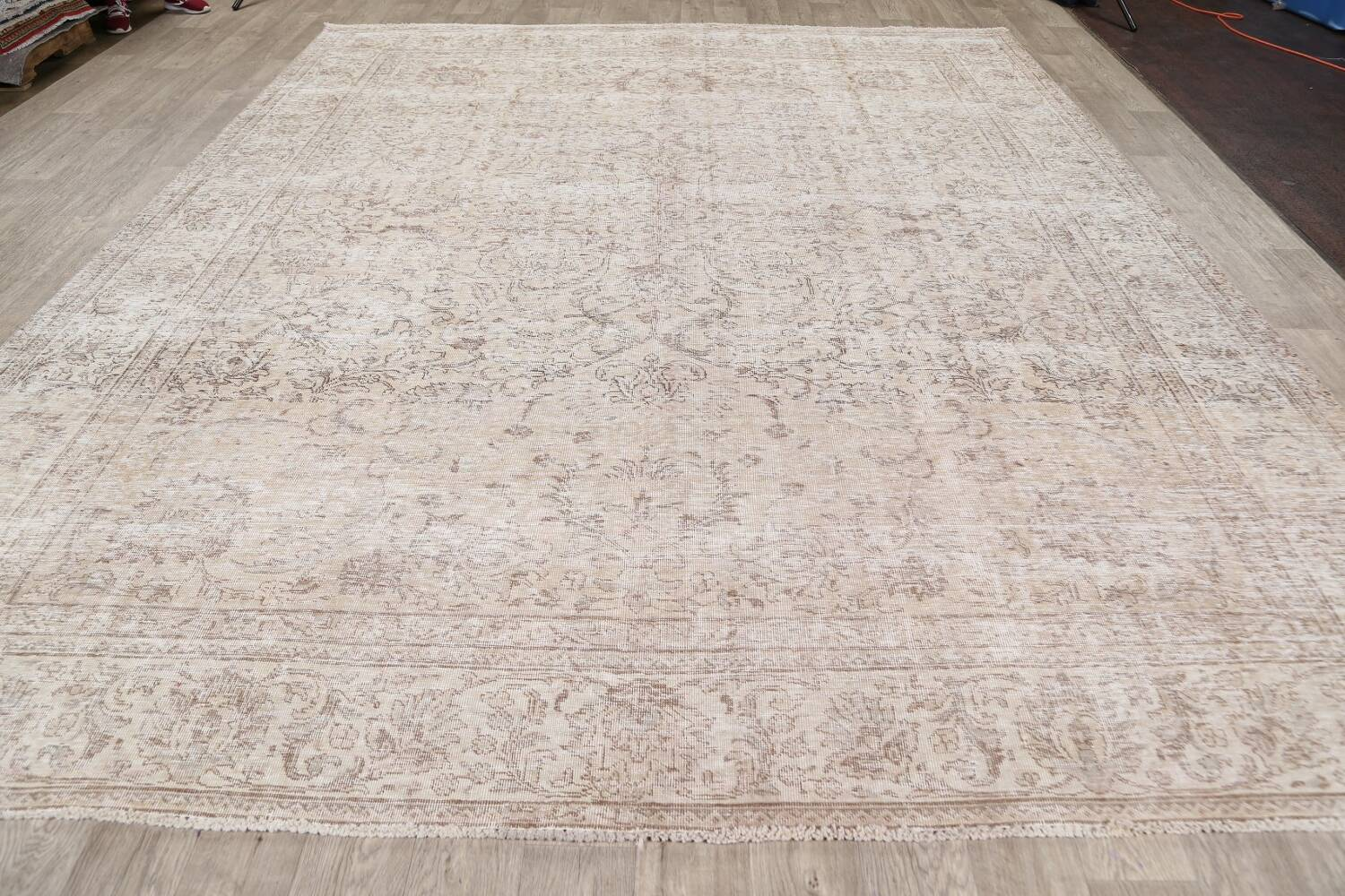 Antique Muted Floral Tabriz Persian Area Rug 9x12 image 17