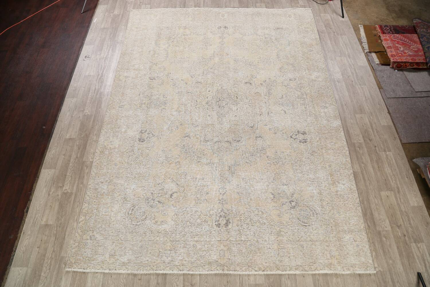 Antique Muted Floral Tabriz Persian Area Rug 9x13 image 2
