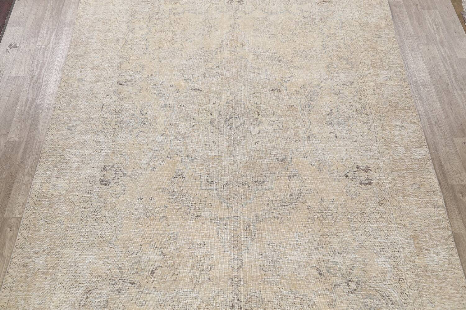 Antique Muted Floral Tabriz Persian Area Rug 9x13 image 3