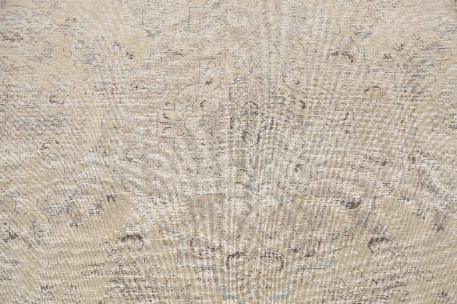 Antique Muted Floral Tabriz Persian Area Rug 9x13 image 4