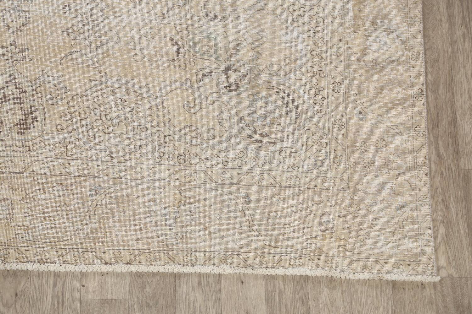 Antique Muted Floral Tabriz Persian Area Rug 9x13 image 5