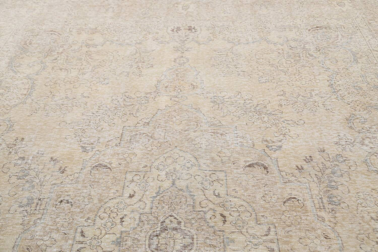 Antique Muted Floral Tabriz Persian Area Rug 9x13 image 12