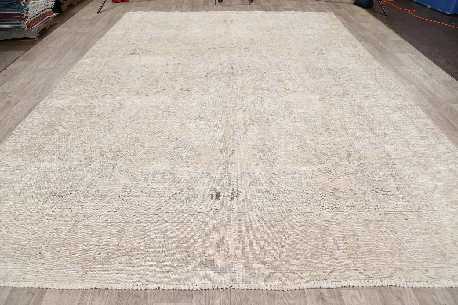 Antique Muted Floral Tabriz Persian Area Rug 9x13 image 15
