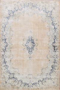 Antique Muted Floral Kerman Persian Area Rug 9x11