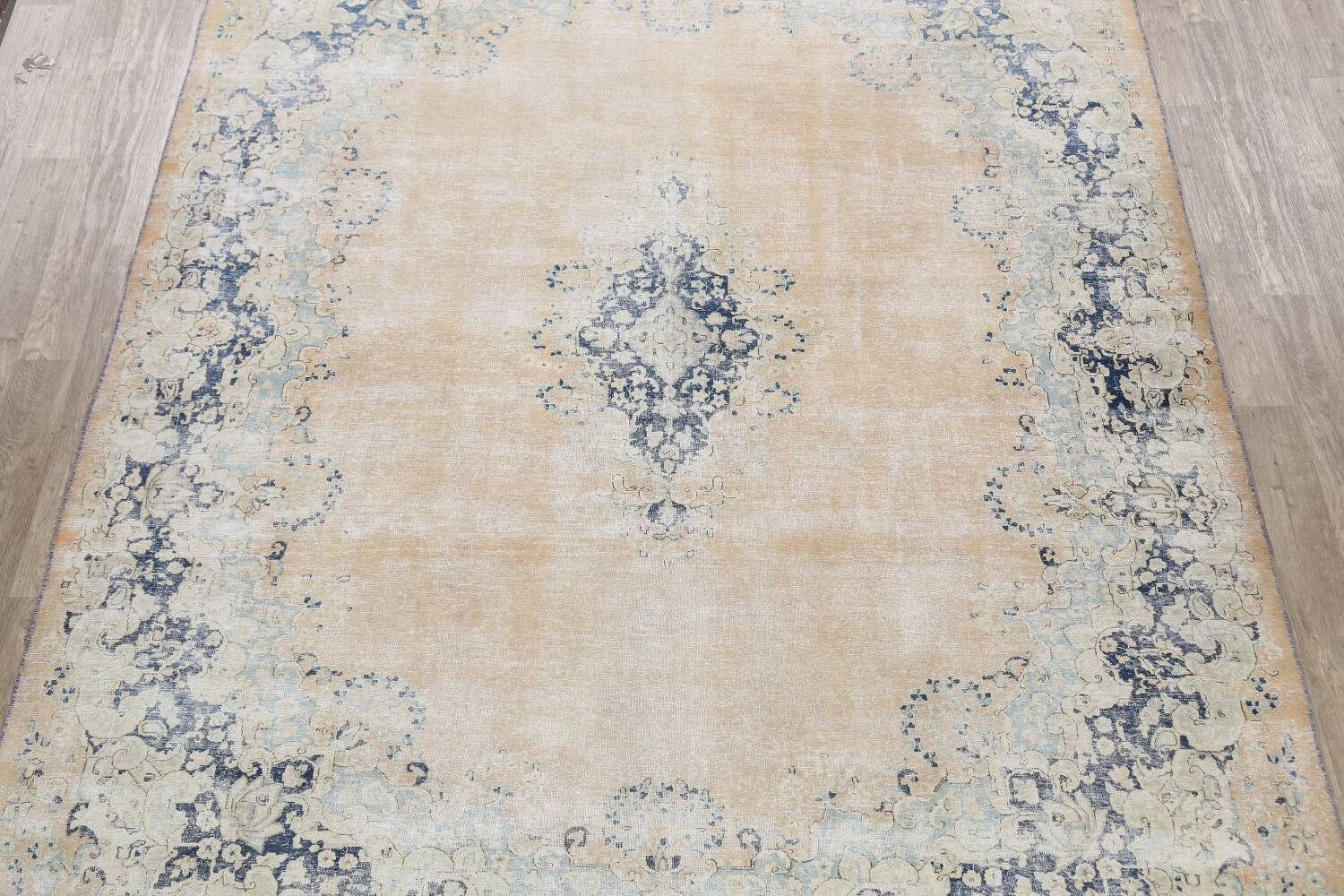 Antique Muted Floral Kerman Persian Area Rug 9x11 image 3