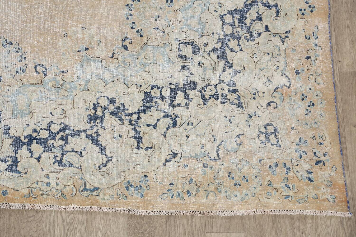 Antique Muted Floral Kerman Persian Area Rug 9x11 image 5