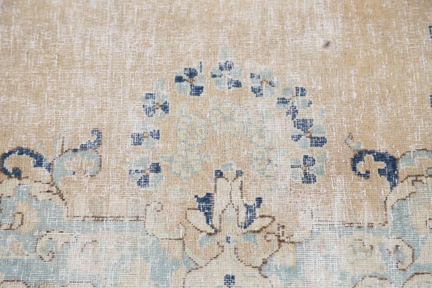 Antique Muted Floral Kerman Persian Area Rug 9x11 image 10