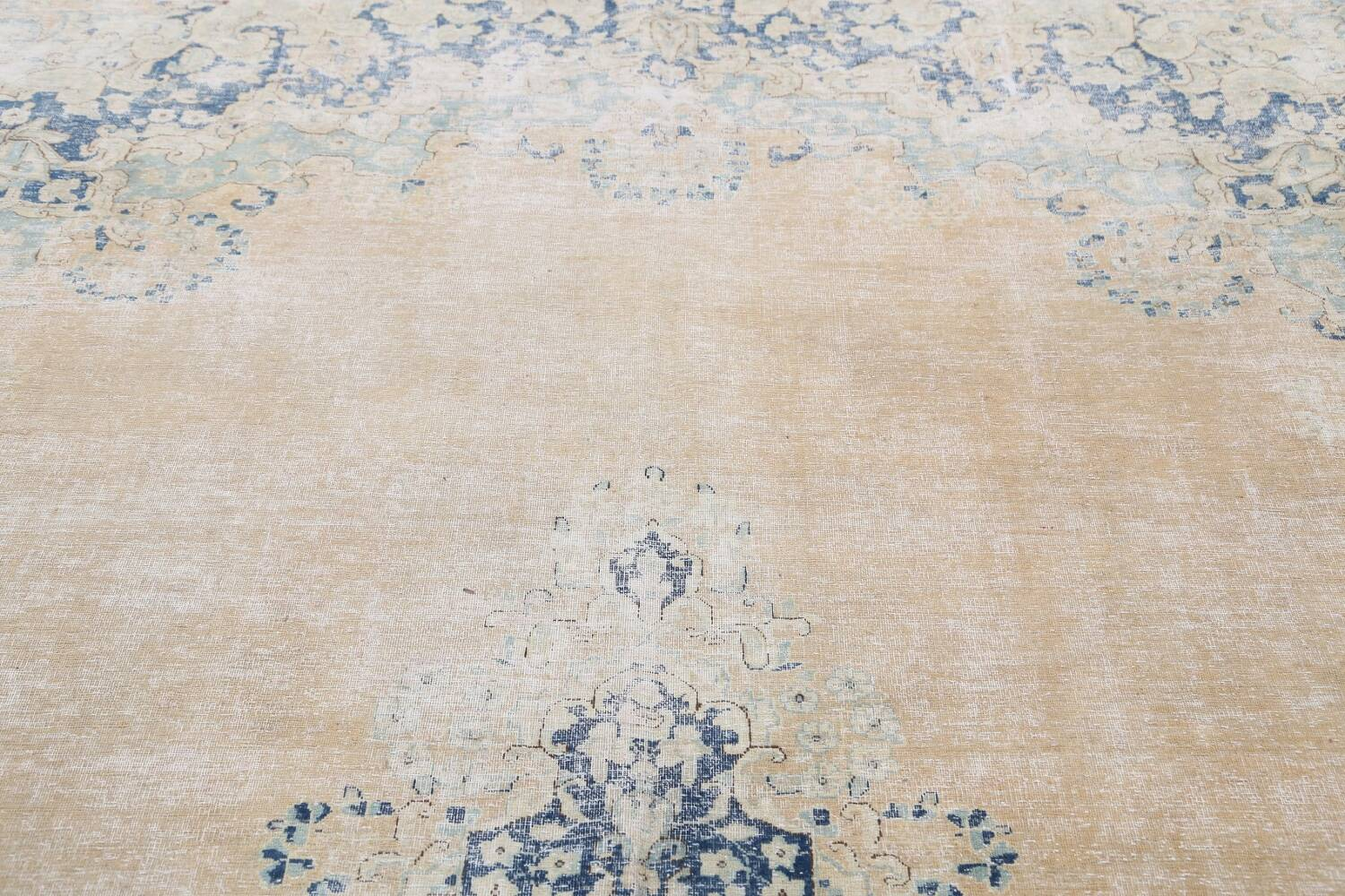 Antique Muted Floral Kerman Persian Area Rug 9x11 image 12