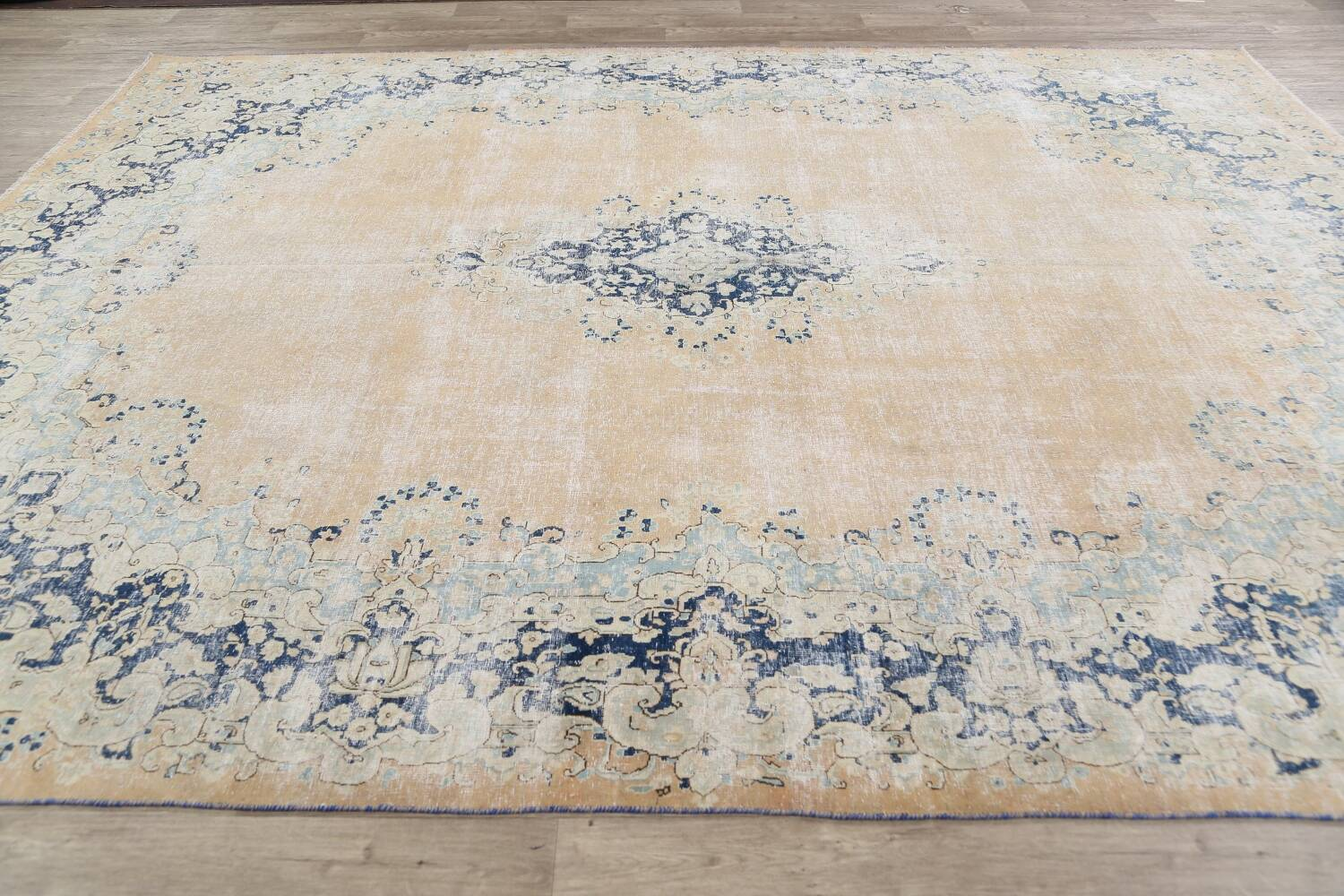 Antique Muted Floral Kerman Persian Area Rug 9x11 image 14