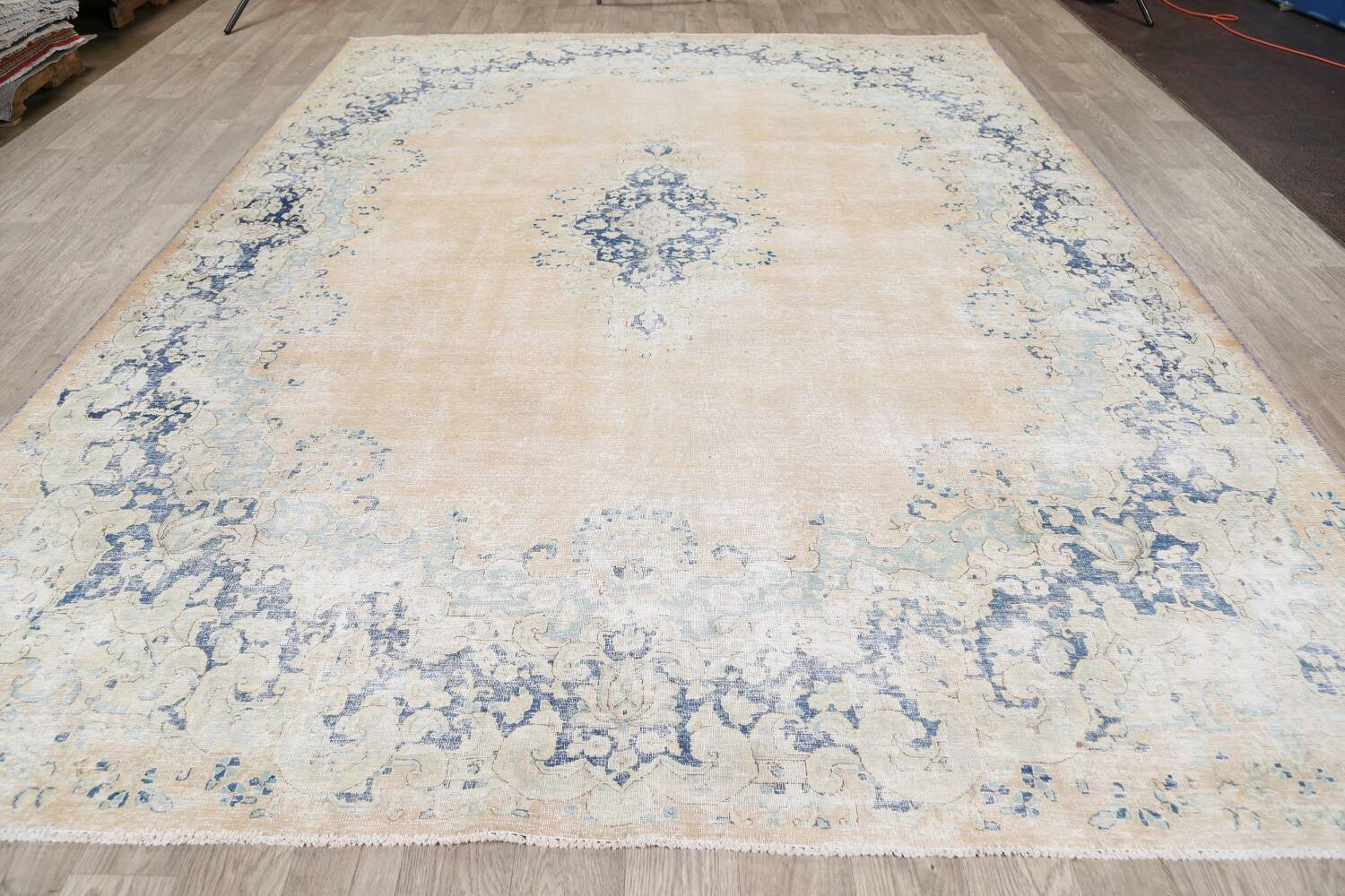 Antique Muted Floral Kerman Persian Area Rug 9x11 image 15