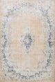 Antique Muted Floral Kerman Persian Area Rug 9x11 image 1