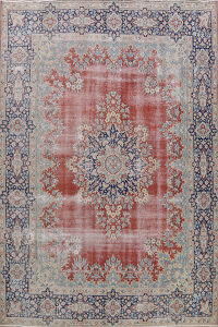 Antique Distressed Kerman Persian Area Rug 10x13