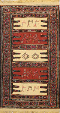 Tribal Sumak Kilim Hand-Woven Persian Area Rug 3x6