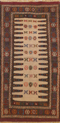 Tribal Kilim Hand-Woven Persian Area Rug 3x6