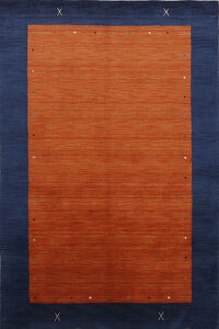 Contemporary Bordered Gabbeh Oriental Area Rug 6x8