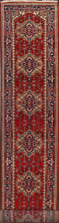 All-Over Geometric Heriz Oriental Runner Rug 3x20