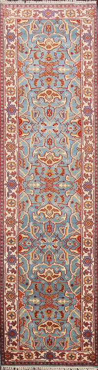 All-Over Geometric Heriz Oriental Runner Rug 3x10