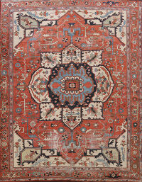 Pre-1900 Antique Vegetable Dye Heriz Serapi Persian Area Rug 10x12