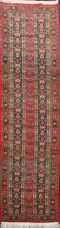Red Geometric Qum Persian Runner Rug 3x10