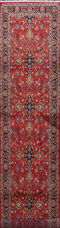 Floral Red Kashan Persian Runner Rug 3x13