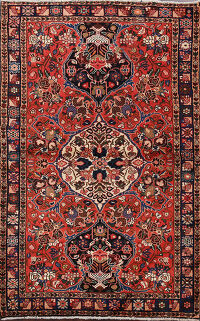 Floral Red Bakhtiari Persian Area Rug 5x7