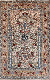 Vintage Wool & Silk Floral Isfahan Persian Area Rug 6x8