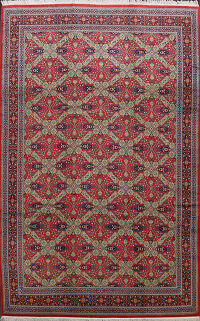 Geometric Red Silk Qum Persian Area Rug 10x13