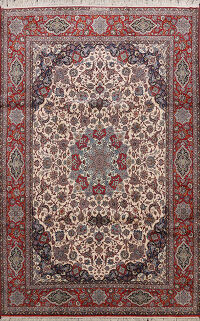 Signed Silk Isfahan Persian Area Rug 9x12