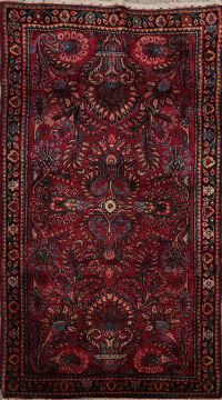 Antique Floral Red Sarouk Persian Area Rug 3x5