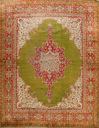 Antique Large Green Oushak Turkish Area Rug 13x14