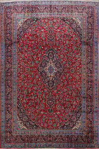 Vintage Floral Red Mashad Persian Area Rug 9x13