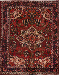 Vintage Floral Red Bakhtiari Persian Area Rug 5x7