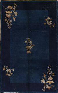 Navy Blue Floral Art Deco Oriental Area Rug 5x8