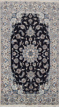 Navy blue Floral Nain Persian Area Rug 4x7