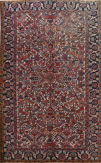 Antique All-Over Geometric Heriz Persian Area Rug 8x11