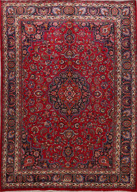 Vintage Floral Red Mashad Persian Area Rug 8x11