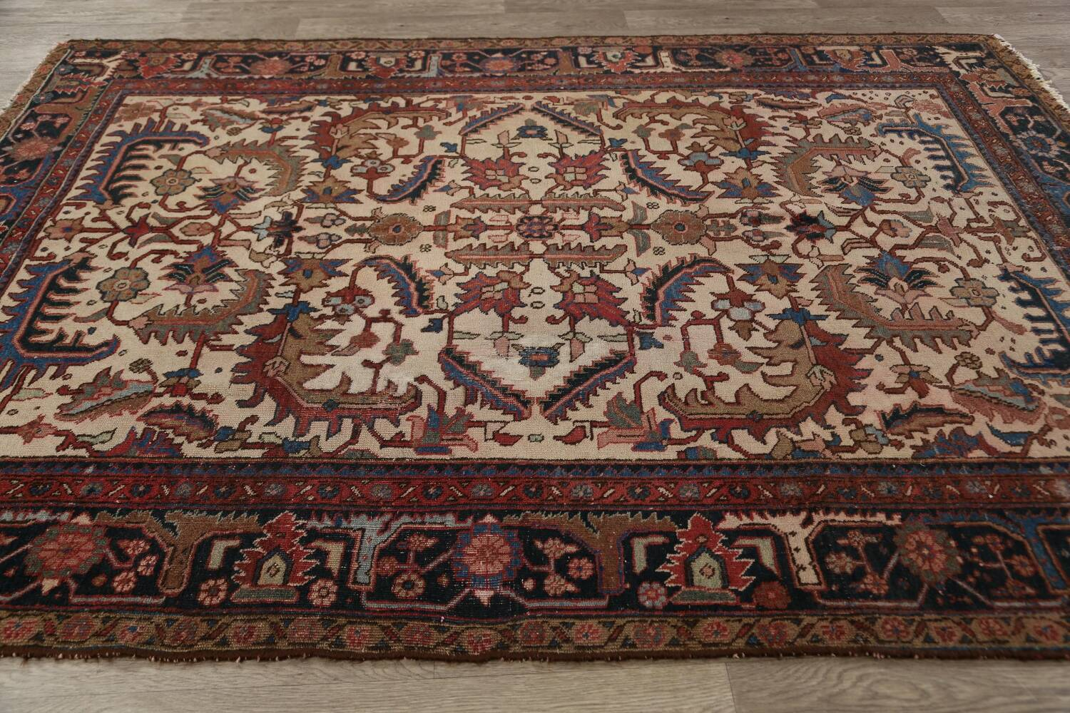 Antique All-Over Heriz Persian Area Rug 6x9 image 16